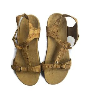 Vionic Sandals Gold Cork Orthaheel Shoes Womens